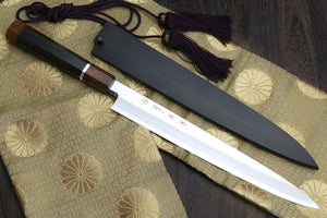 Yoshihiro Ginsanko Mirror Polished Stain Resistant Steel Yanagi Sushi Sashimi Japanese Knife Ebony Handle with Silver Ring