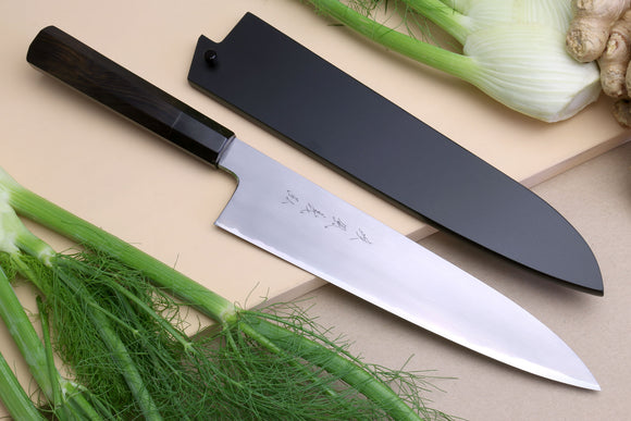 Yoshihiro Special Forged Mizu Yaki Aogami Blue Steel Gyuto Chef Knife Ebony Handle