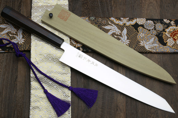 Yoshihiro Ice Hardened Aus-10 Stainless Steel Sujihiki Kiritsuke Slicer Japanese Chef Knife Shitan Handle