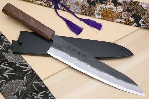 Yoshihiro Kurouchi Super Blue Steel Stainless Clad Gyuto Multipurpose Japanese Chef Knife with Walnut Handle