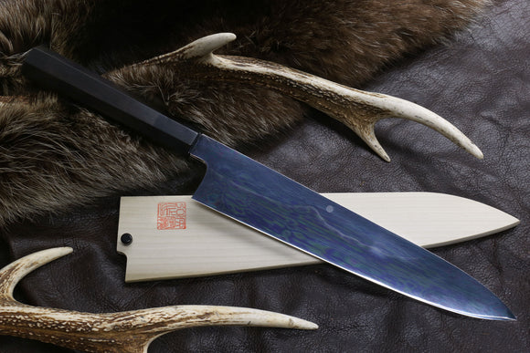 Yoshihiro Mizu Yaki Honyaki Mirror-Finished Mt. Fuji with Full Moon Gyuto Chefs Knife with Ebony Handle