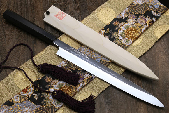 Yoshihiro Mizu Honyaki White Steel #1 Mirror-Finished Namiukashi Yanagi Ebony Handle