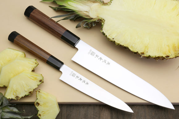 Yoshihiro Ice Hardened Stainless Steel Gyuto and Petty Japanese Chef Knife Set