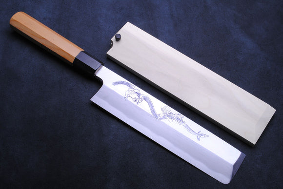 Yoshihiro Artisan Hand Engraved Unagi Nobori Climbing Eel Aonamiuchi Usuba 210mm Japanese Vegetable Chef Knife Octagonal Yew Handle