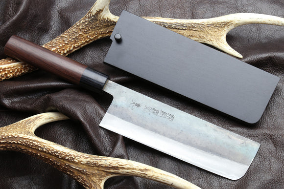 Yoshihiro Mizu Yaki Black Finish Blue steel KUROUCHI Nakiri Japanese Vegetable chef knife (Round Shape Shitan Handle)