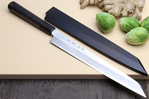 Yoshihiro VG-10 Stainless Steel Yanagi Kiritsuke Sushi Sashimi Japanese Knife with Rosewood Handle and Nuri Saya Cover