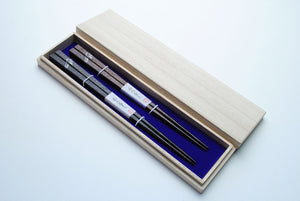 Japanese Premium Hon Fukiurushi Chopsticks Lacquered Mt. Fuji with Paulownia Wooden Box