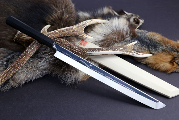 Yoshihiro Mizu Yaki Honyaki Mirror Finished Mt.Fuji with Full Moon Sakimaru Takobiki Premium Ebony Handle