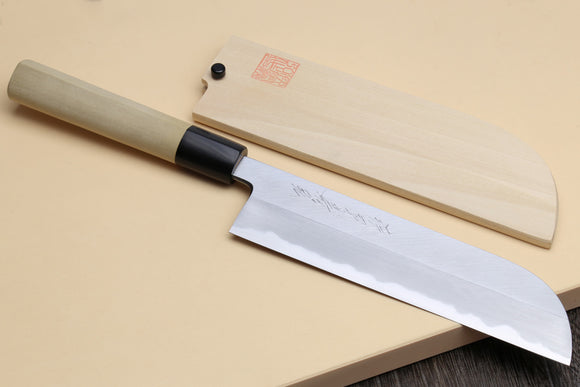 Yoshihiro Kasumi White Steel Kama Usuba Traditional Japanese Vegetable Chopping Chef Knife, Magnolia Handle