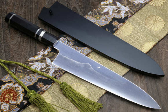 Yoshihiro Mizu Yaki White Steel #2 Honyaki Mirror-Finished Mt. Fuji with Crescent Moon Gyuto Chefs Knife Oct. Ebony Triple Nickel Silver Ring Handle and Nuri Saya