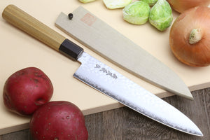 Yoshihiro VG-10 46 Layers Hammered Damascus Gyuto Japanese Chefs Knife (Octagonal Ambrosia Handle)