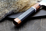 Yoshihiro Hayate ZDP-189 Super High Carbon Stainless Steel Petty Utility Chefs Knife Premium Ebony Handle with sterling silver ring, Nuri Saya Cover