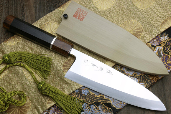 Yoshihiro Mizu Yaki Ginsanko Mirror-Finished High Carbon Stain Resistant Deba Fish Fillet Knife Ebony Handle with Silver Ring