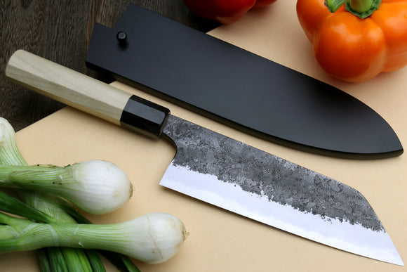 Yoshihiro Nashiji High Carbon White Steel #2 Santoku Japanese Multipurpose Knife