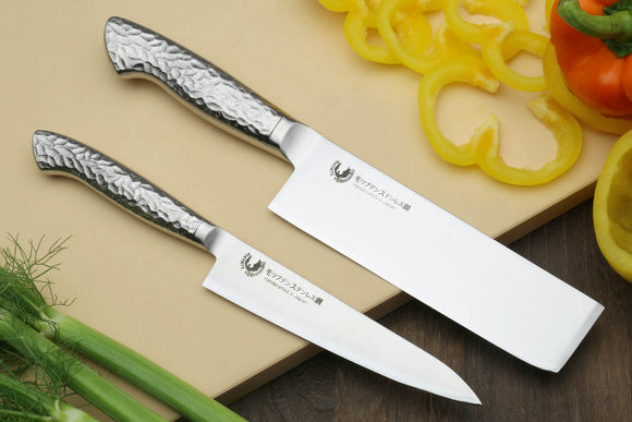 Yoshihiro Hayate Inox Aus-8 Nakiri & Petty Knife 2pc Set - Integrated Stainless Handle