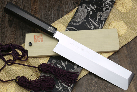 Yoshihiro Honyaki Mirror-Polished White Steel Edo Usuba Traditional Japanese Vegetable Chopping Chefs Knife Ebony Handle