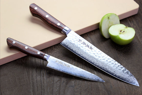 Yoshihiro VG-10 16 Layer Hammered Damascus Stainless Steel Gyuto and Petty Knife Set