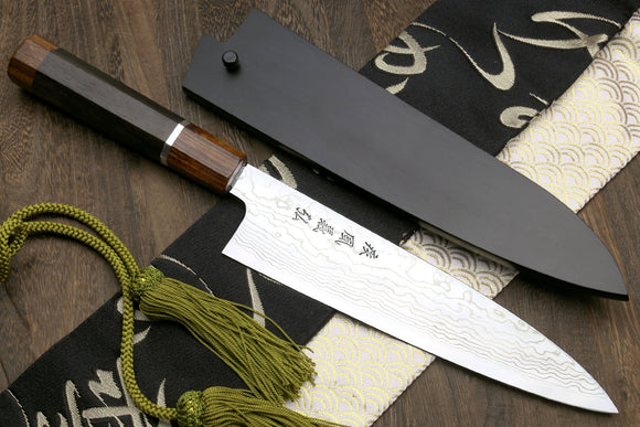 Yoshihiro Hayate ZDP-189 Super High Carbon Stainless Steel Suminagashi Gyuto Chef Knife Octagonal Ebony Wood Handle with Sterling Silver Ring