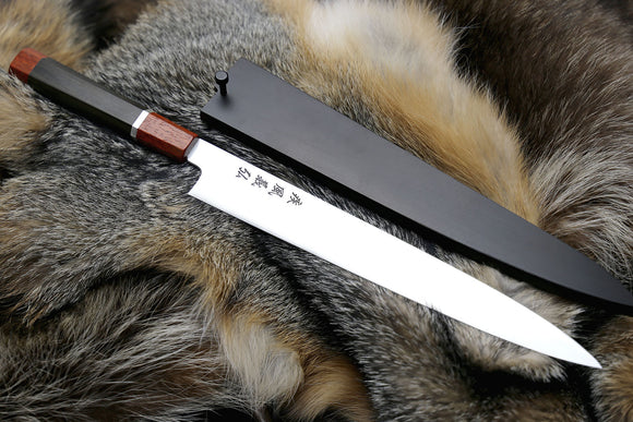 Yoshihiro Hayate ZDP-189 Super High Carbon Stainless Steel Sujihiki Slicer Knife Octagonal Ebony Wood Handle with Sterling Silver Ring