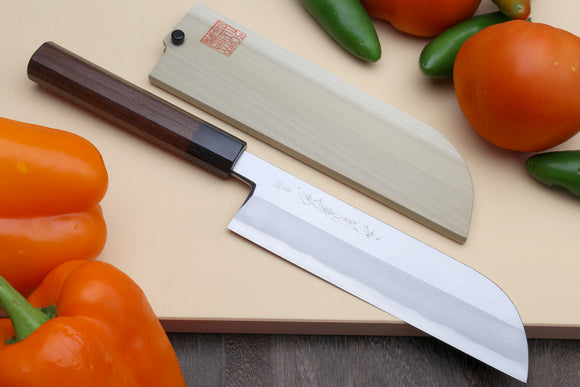 Yoshihiro Hongasumi Blue Steel Kama Usuba Traditional Japanese Vegetable Chopping Chef Knife, Rosewood Handle