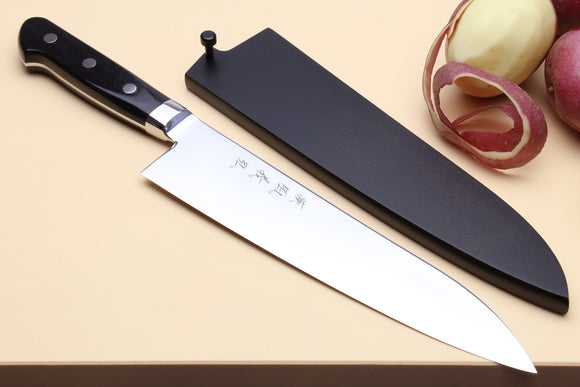 Yoshihiro High Speed Steel Gyuto Chefs Knife (Black Pakkawood Handle) w/ Lacquered Nuri Saya Cover