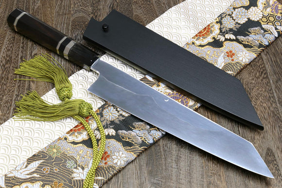 Yoshihiro Mizu Yaki White Steel #2 Honyaki Mirror-Finished Mt. Fuji with Crescent Moon Kiritsuke Multipurpose Chefs Knife Oct. Ebony Triple Nickel Silver Ring Handle and Ebony Saya