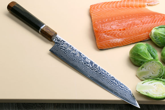 Yoshihiro ZDP-189 High Carbon Stainless Steel Suminagashi Utility Kiritsuke Slicer Knife Ebony Handle with Sterling Silver Ring and Nuri Saya