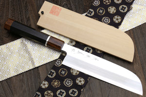 Yoshihiro  Ginsanko Mirror Polished Stain Resistant Kama Usuba Traditional Japanese Vegetable Chopping Chef Knife Ebony Handle with Silver Ring