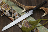 Yoshihiro Aonamiuchi Blue Steel #1 Yanagi Kiritsuke Sushi Sashimi Japanese Knife Ebony Handle with Nuri Saya Cover