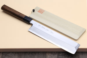 Yoshihiro Hongasumi Blue Steel Edo Usuba Traditional Japanese Vegetable Chopping Chef Knife, Rosewood Handle