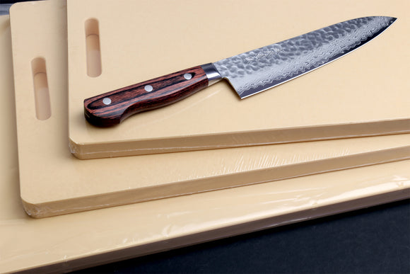 Yoshihiro VG-10 16 Layers Hammered Damascus Gyuto 210mm with Hi-Soft High Performance Professional Grade Cutting Board