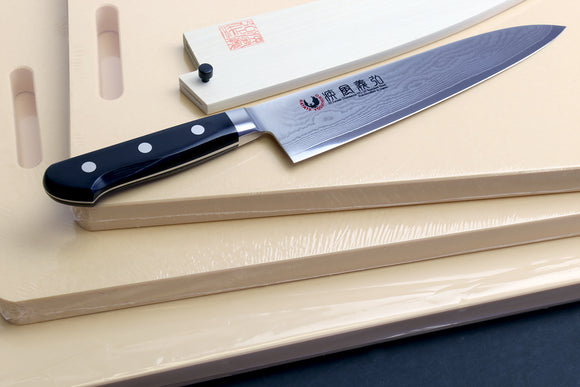 Yoshihiro VG-10 33 Layers Damascus Gyuto Chefs Knife 210mm Black Pakkawood Handle with Hi-Soft High Performance Professional Grade Cutting Board