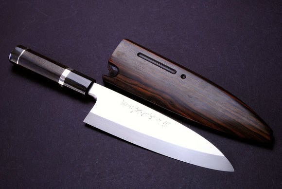 Yoshihiro Mizuyaki Water Quenched Honyaki Mirror-Finished White Steel #1 Japanese Deba Fillet Butcher Sushi Chefs Knife with Sterling Silver Double Bolster Octagonal Ebony handle and Chinagashi Indented Ebony Saya