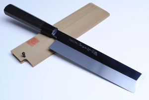 Yoshihiro Honyaki Mirror-Polished White Steel #2 Edo Usuba Traditional Japanese Vegetable Chopping Chefs Knife Ebony wood Handle
