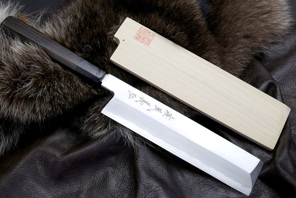 Yoshihiro Aonamiuchi Blue Steel #1 Edo Usuba Traditional Japanese Vegetable Chopping Chef Knife Ebony Handle