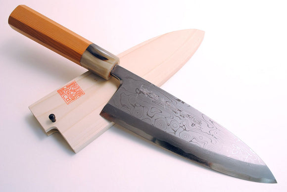 Yoshihiro Suminagashi Blue Steel #1 Deba Fish Fillet Knife Yew Handle