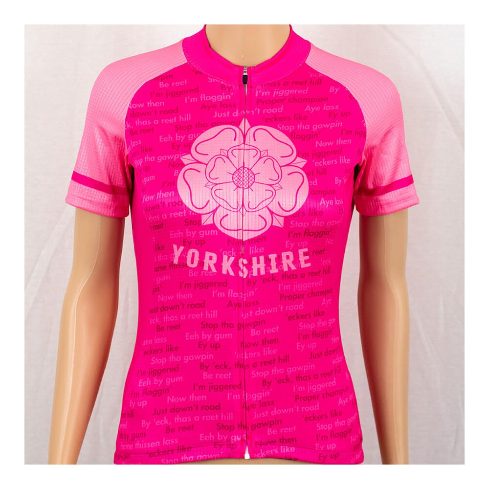Yorkshire Dialect Kids Pink Short Sleeve Cycling Jersey