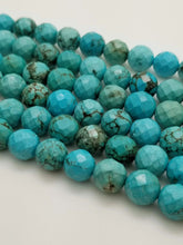 Load image into Gallery viewer, 10mm Round Faceted Stabilized Turquoise