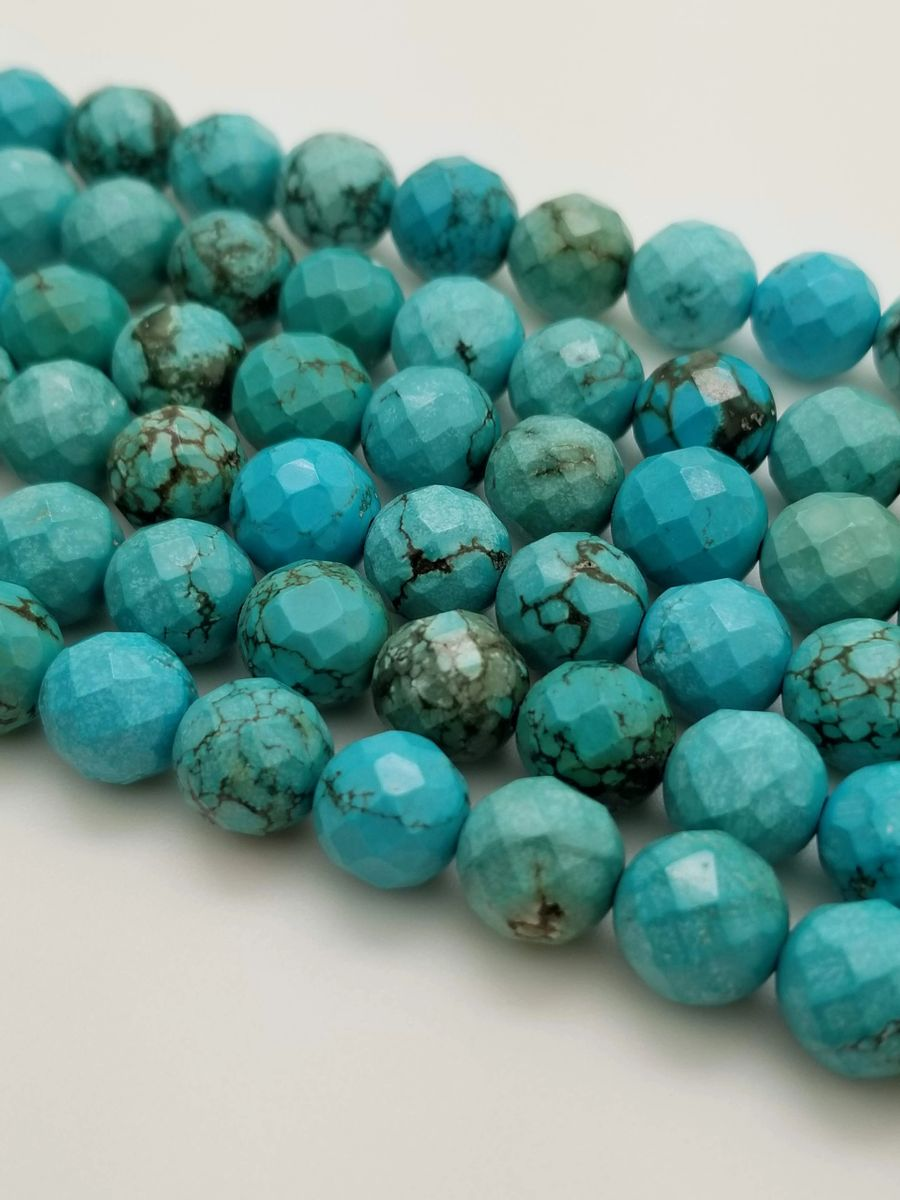 10mm Round Faceted Stabilized Turquoise