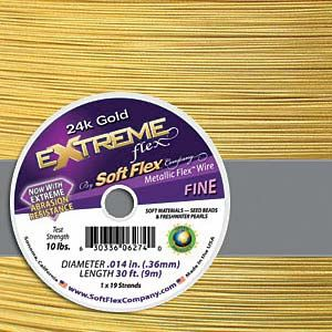 Extreme Flex 24k Gold Fine Beading Wire 10ft
