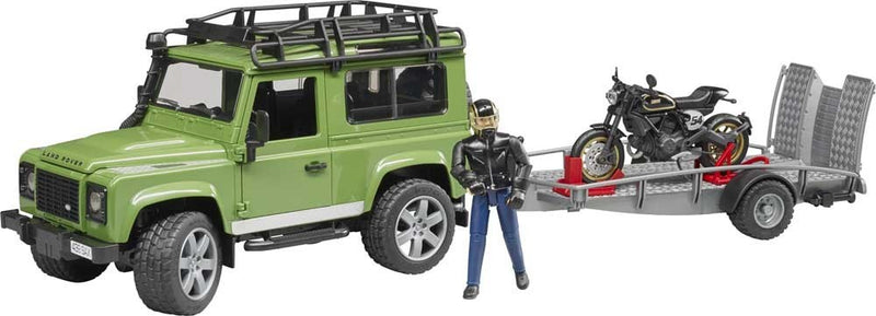 Land Rover Station Wagon with trailer, Scrambler Ducati Cafe - Bruder 02598