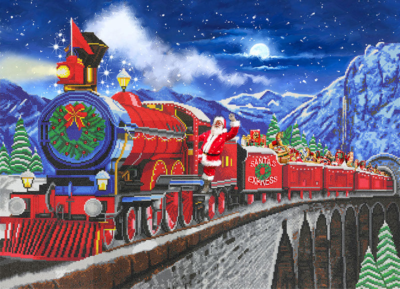 "Toile (35x25"") diamond painting - Santa Express"