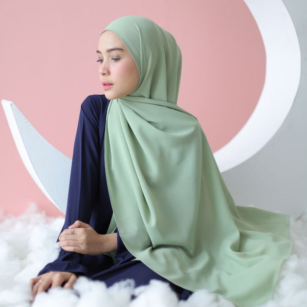Woody Shawl Green Pastel
