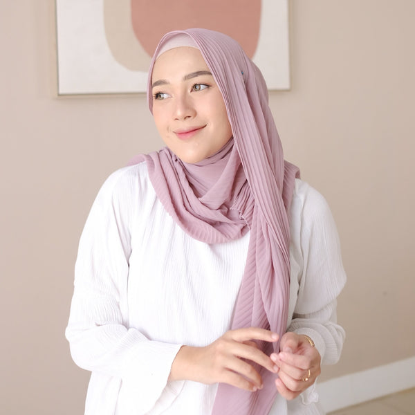 Ayra Pleats Shawl Purple Pastel