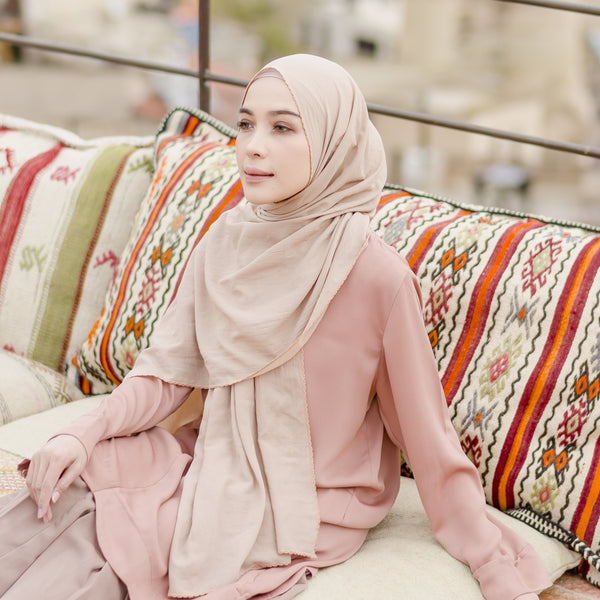 Embroidery Signature Shawl Beige