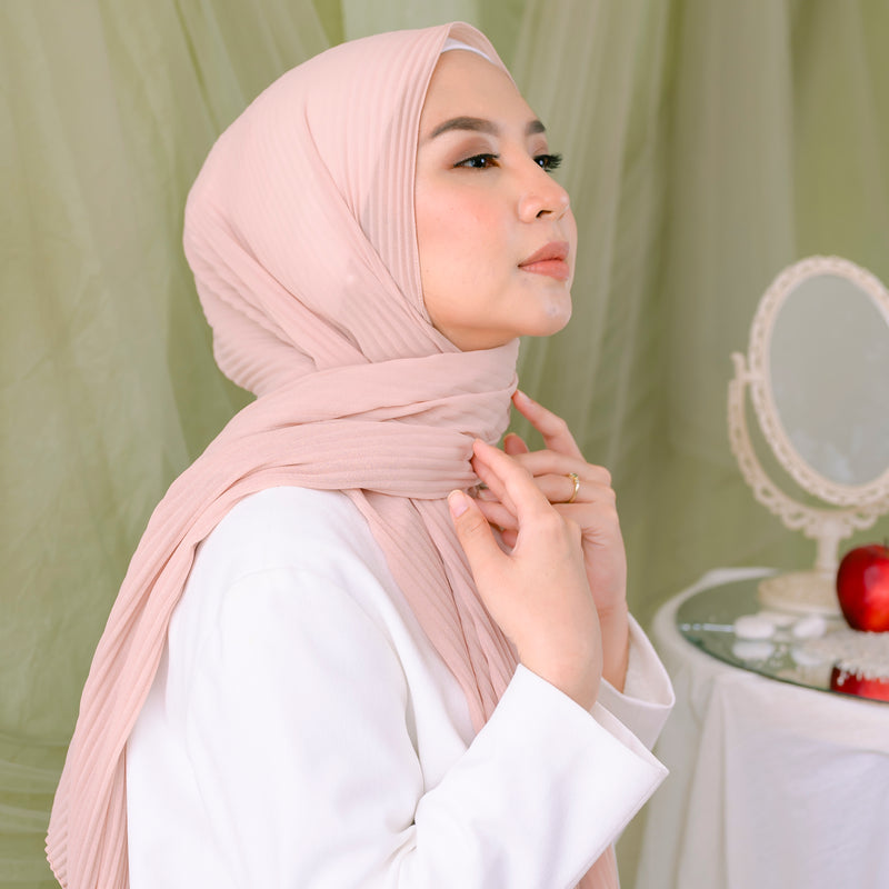 Defect Ayra Pleats Shawl Pink Peach