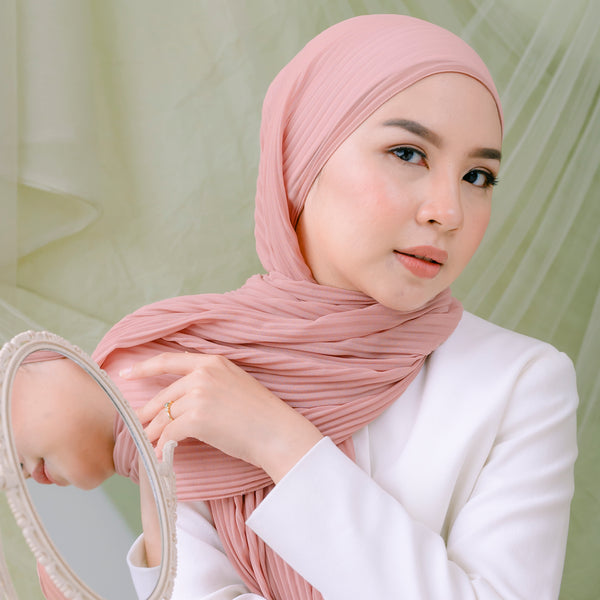 Ayra Pleats Shawl Nude Pink