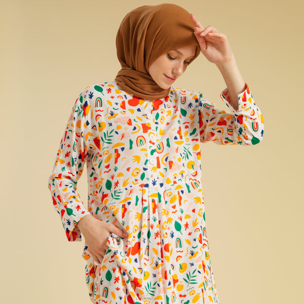 Naura Pajamas White Abstrak Pattern