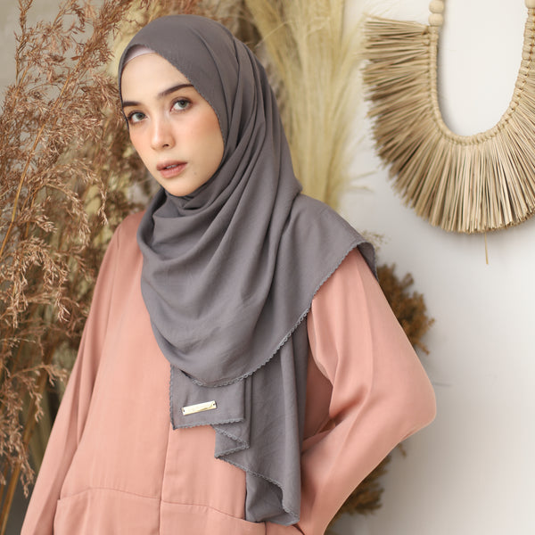Embroidery Signature Shawl Dark Grey