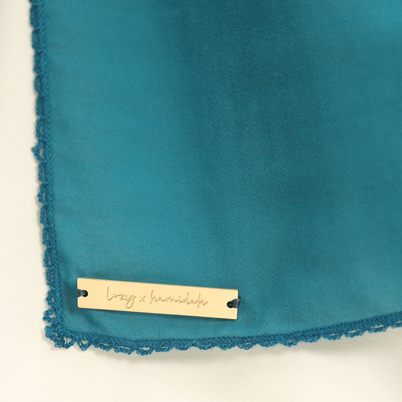 Embroidery Signature Square Blue Tosca